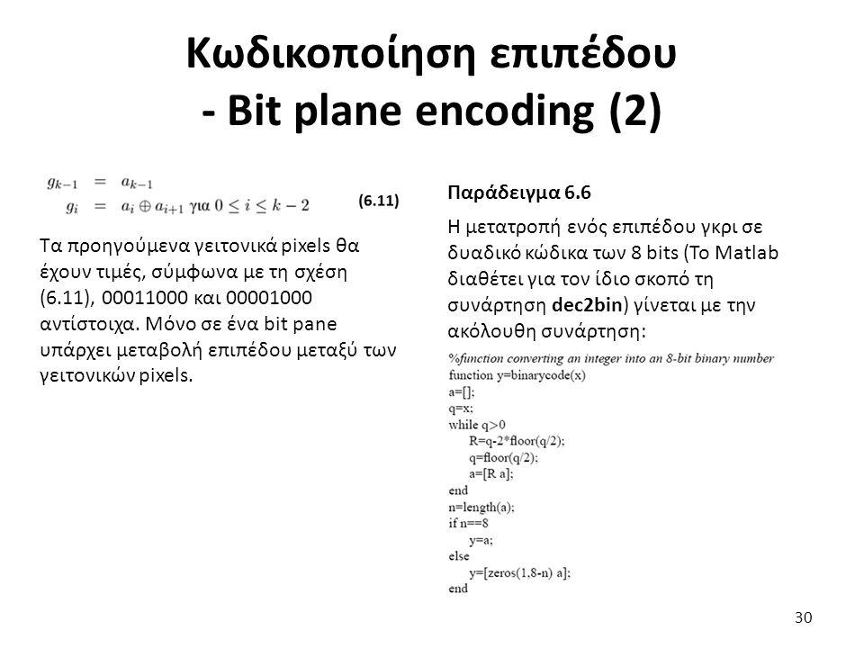 Κωδικοποίηση επιπέδου - Bit plane encoding (2) Τα προηγούμενα γειτονικά pixels θα έχουν τιμές, σύμφωνα με τη σχέση (6.11), 00011000 και 00001000 αντίστοιχα.