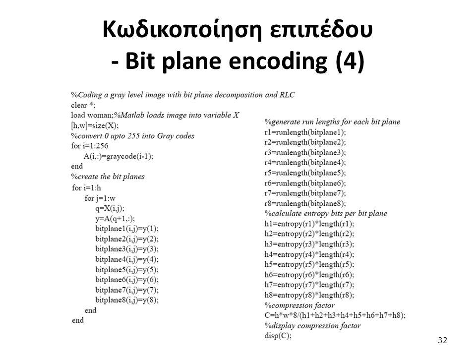 Κωδικοποίηση επιπέδου - Bit plane encoding (4) 32