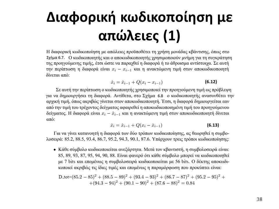 Διαφορική κωδικοποίηση με απώλειες (1) 38