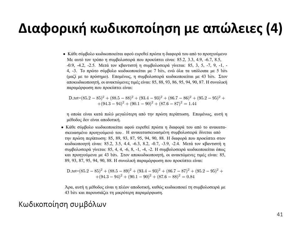 Κωδικοποίηση συμβόλων Διαφορική κωδικοποίηση με απώλειες (4) 41