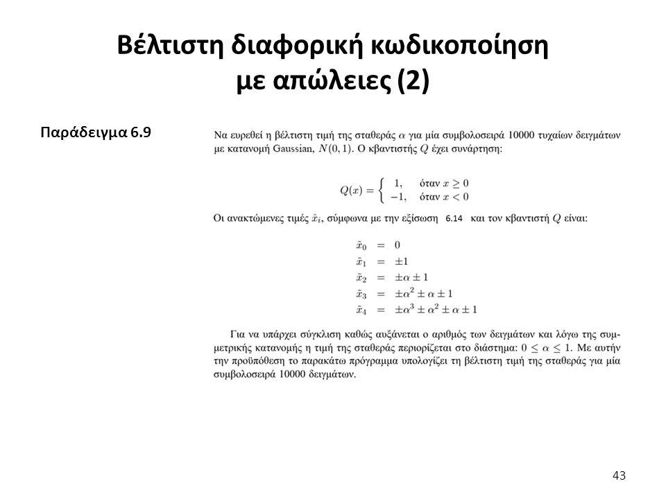 Παράδειγμα 6.9 Βέλτιστη διαφορική κωδικοποίηση με απώλειες (2) 43