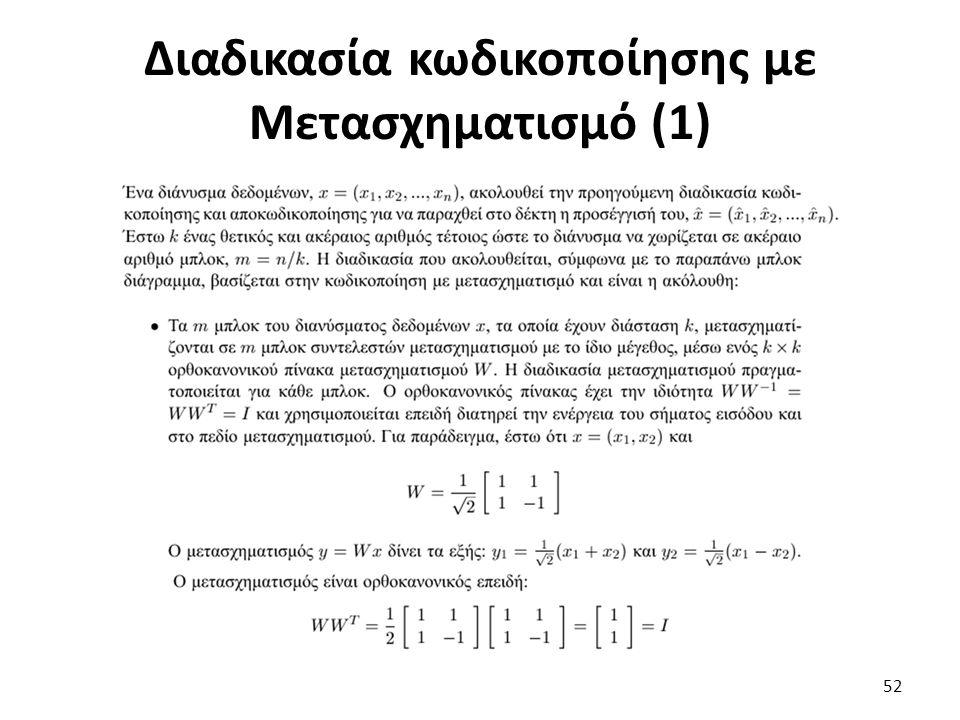 Διαδικασία κωδικοποίησης με Μετασχηματισμό (1) 52