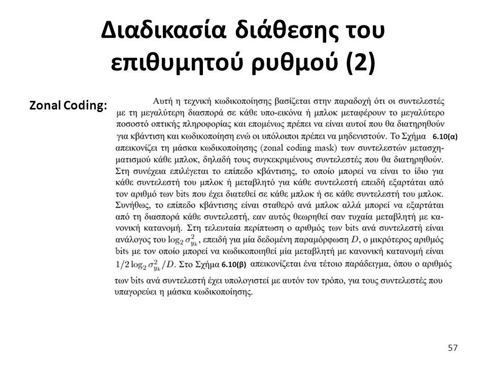 Zonal Coding: Διαδικασία διάθεσης του επιθυμητού ρυθμού (2) 57