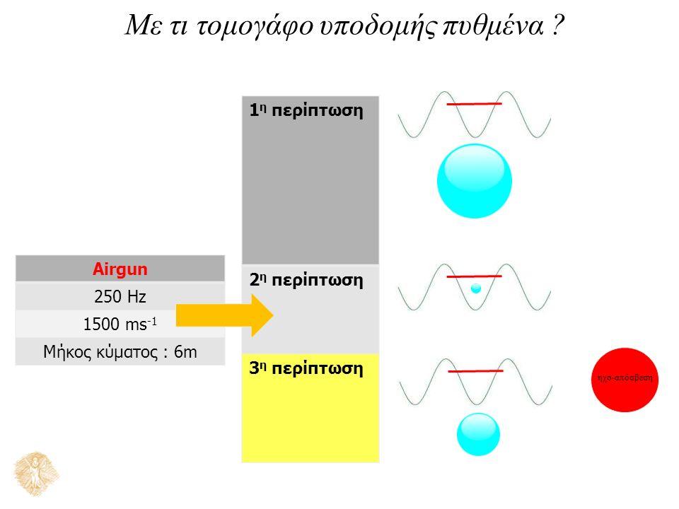 Με τι τομογάφο υποδομής πυθμένα ? 1 η περίπτωση 2 η περίπτωση 3 η περίπτωση Airgun 250 Hz 1500 ms -1 Μήκος κύματος : 6m ηχο-απόσβεση