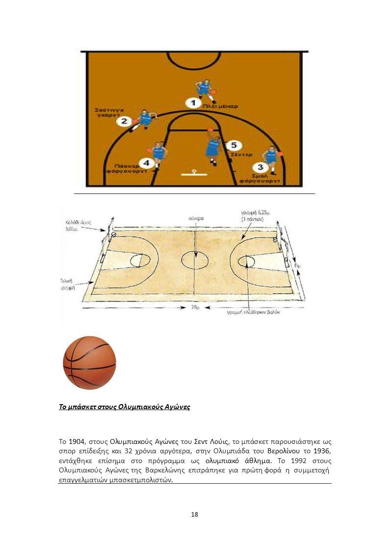 Το μπάσκετ στους Ολυμπιακούς Αγώνες Το 1904, στους Ολυμπιακούς Αγώνες του Σεντ Λούις, το μπάσκετ παρουσιάστηκε ως σπορ επίδειξης και 32 χρόνια αργότερα, στην Ολυμπιάδα του Βερολίνου το 1936, εντάχθηκε επίσημα στο πρόγραμμα ως ολυμπιακό άθλημα.