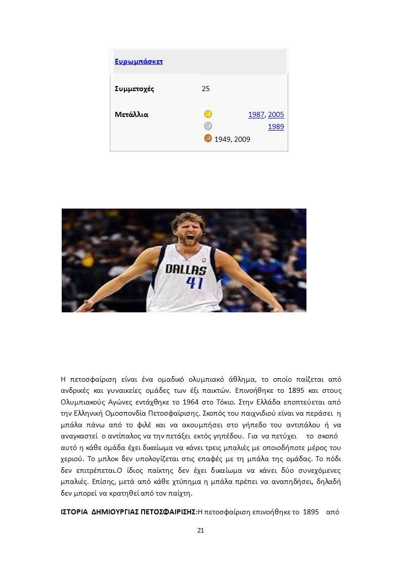 Ευρωμπάσκετ Συμμετοχές25 Μετάλλια19871987, 20052005 1989 1949, 2009 Η πετοσφαίριση είναι ένα ομαδικό ολυμπιακό άθλημα, το οποίο παίζεται από ανδρικές και γυναικείες ομάδες των έξι παικτών.