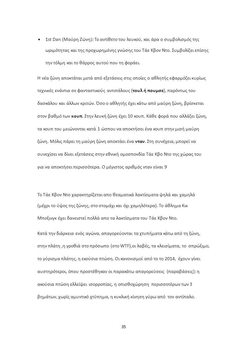 35  1st Dan (Μαύρη Zώνη): Το αντίθετο του λευκού, και άρα ο συμβολισμός της ωριμότητας και της προχωρημένης γνώσης του Τάε Κβον Ντο.