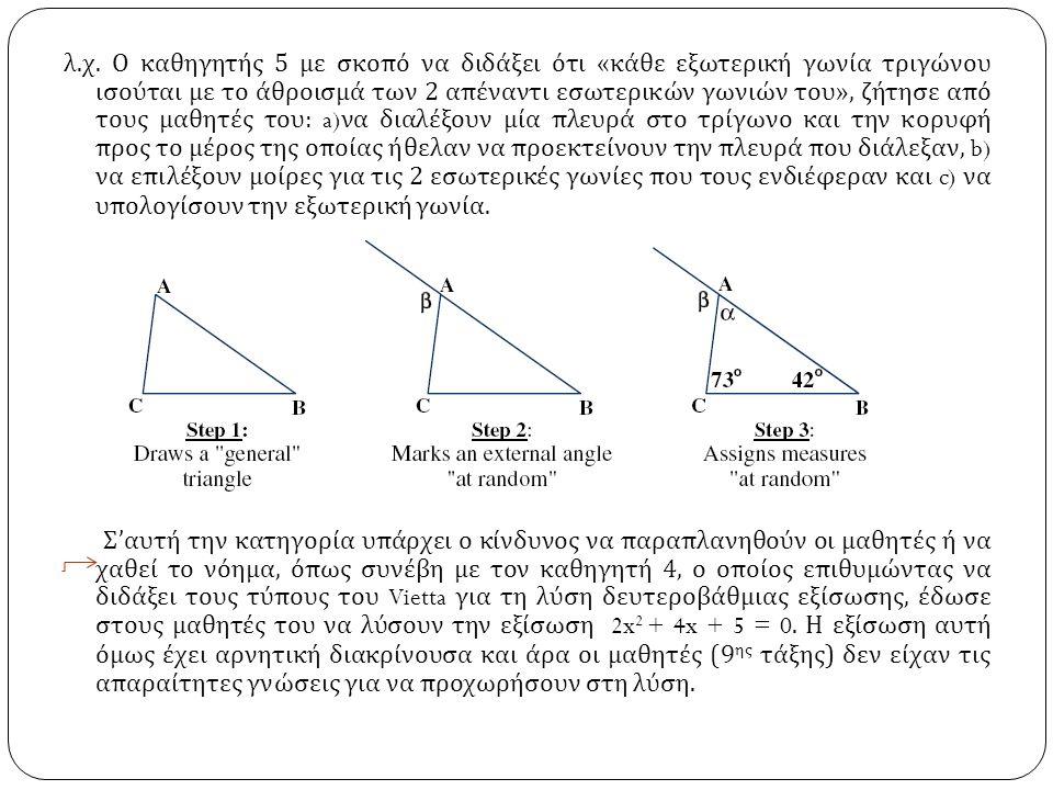 λ. χ. Ο καθηγητής 5 με σκοπό να διδάξει ότι « κάθε εξωτερική γωνία τριγώνου ισούται με το άθροισμά των 2 απέναντι εσωτερικών γωνιών του », ζήτησε από