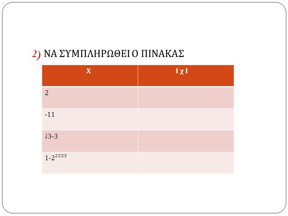 3) ΝΑ ΣΥΜΠΛΗΡΩΣΕΤΕ ΤΙΣ ΙΣΟΤΗΤΕΣ α ) Ι -2/3 Ι = β ) ( -2/3 ) = γ ) Ι ⇃ 5-3 Ι = δ ) 1- Ι – 5 Ι = ε ) 1 – ( - 5 ) =