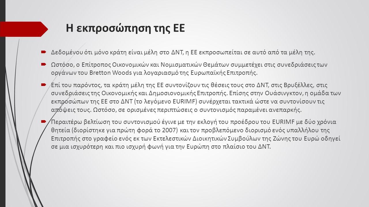 Η εκπροσώπηση της ΕΕ  Δεδομένου ότι μόνο κράτη είναι μέλη στο ΔΝΤ, η ΕΕ εκπροσωπείται σε αυτό από τα μέλη της.