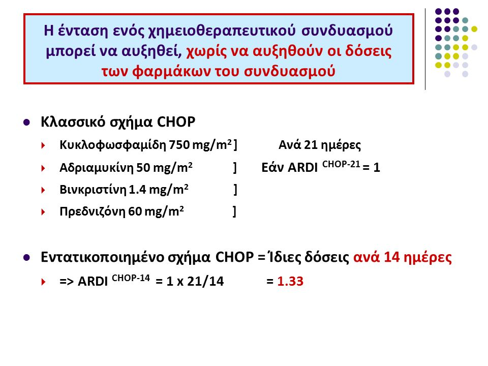 Η ένταση ενός χημειοθεραπευτικού συνδυασμού μπορεί να αυξηθεί, χωρίς να αυξηθούν οι δόσεις των φαρμάκων του συνδυασμού Κλασσικό σχήμα CHOP  Κυκλοφωσφαμίδη 750 mg/m 2 ] Ανά 21 ημέρες  Αδριαμυκίνη 50 mg/m 2 ] Εάν ARDI CHOP-21 = 1  Βινκριστίνη 1.4 mg/m 2 ]  Πρεδνιζόνη 60 mg/m 2 ] Εντατικοποιημένο σχήμα CHOP = Ίδιες δόσεις ανά 14 ημέρες  => ARDI CHOP-14 = 1 x 21/14 = 1.33