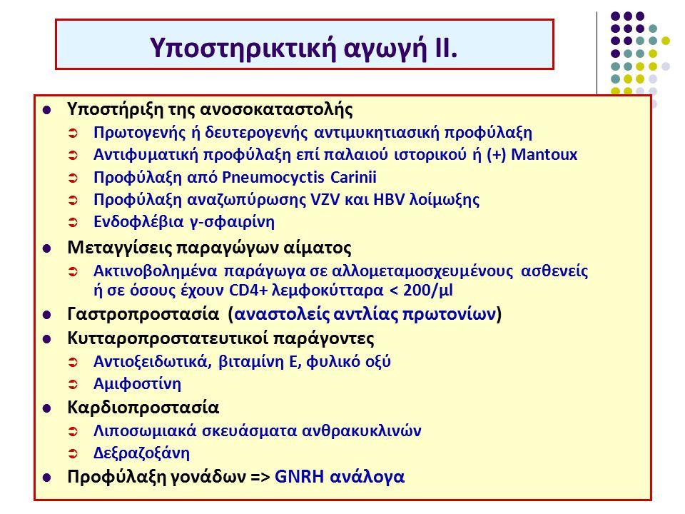 Υποστήριξη της ανοσοκαταστολής  Πρωτογενής ή δευτερογενής αντιμυκητιασική προφύλαξη  Αντιφυματική προφύλαξη επί παλαιού ιστορικού ή (+) Mantoux  Προφύλαξη από Pneumocyctis Carinii  Προφύλαξη αναζωπύρωσης VZV και HBV λοίμωξης  Ενδοφλέβια γ-σφαιρίνη Μεταγγίσεις παραγώγων αίματος  Ακτινοβολημένα παράγωγα σε αλλομεταμοσχευμένους ασθενείς ή σε όσους έχουν CD4+ λεμφοκύτταρα < 200/μl Γαστροπροστασία (αναστολείς αντλίας πρωτονίων) Κυτταροπροστατευτικοί παράγοντες  Αντιοξειδωτικά, βιταμίνη Ε, φυλικό οξύ  Αμιφοστίνη Καρδιοπροστασία  Λιποσωμιακά σκευάσματα ανθρακυκλινών  Δεξραζοξάνη Προφύλαξη γονάδων => GNRH ανάλογα Υποστηρικτική αγωγή ΙΙ.