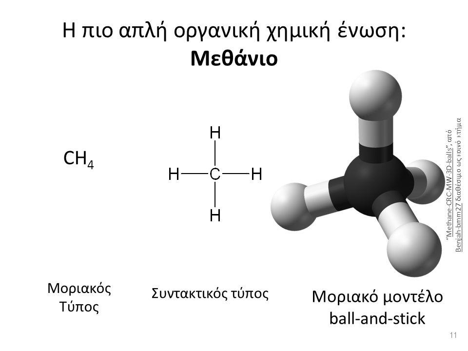 Η πιο απλή οργανική χημική ένωση: Μεθάνιο CH 4 Μοριακός Τύπος Συντακτικός τύποςΣτερεοχημικός τύπος Μοριακό μοντέλο ball-and-stick 11 Methane-CRC-MW-3D-balls , από Benjah-bmm27 διαθέσιμο ως κοινό κτήμαMethane-CRC-MW-3D-balls Benjah-bmm27