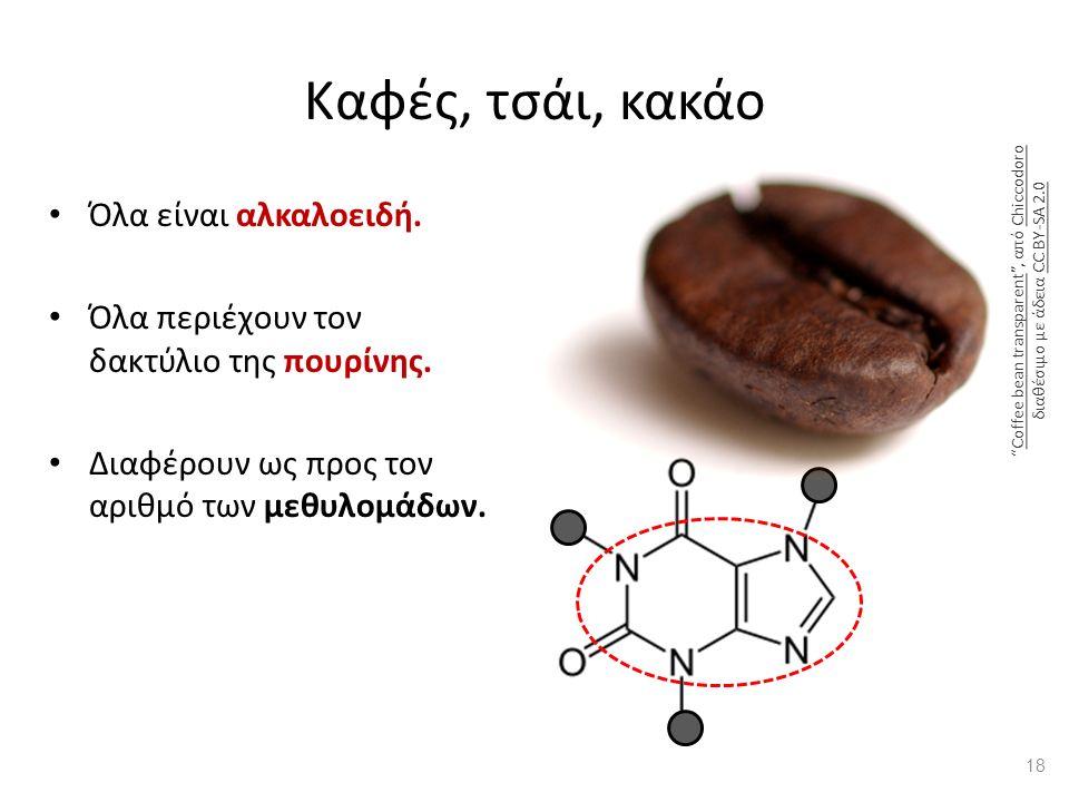 Καφές, τσάι, κακάο Όλα είναι αλκαλοειδή. Όλα περιέχουν τον δακτύλιο της πουρίνης.