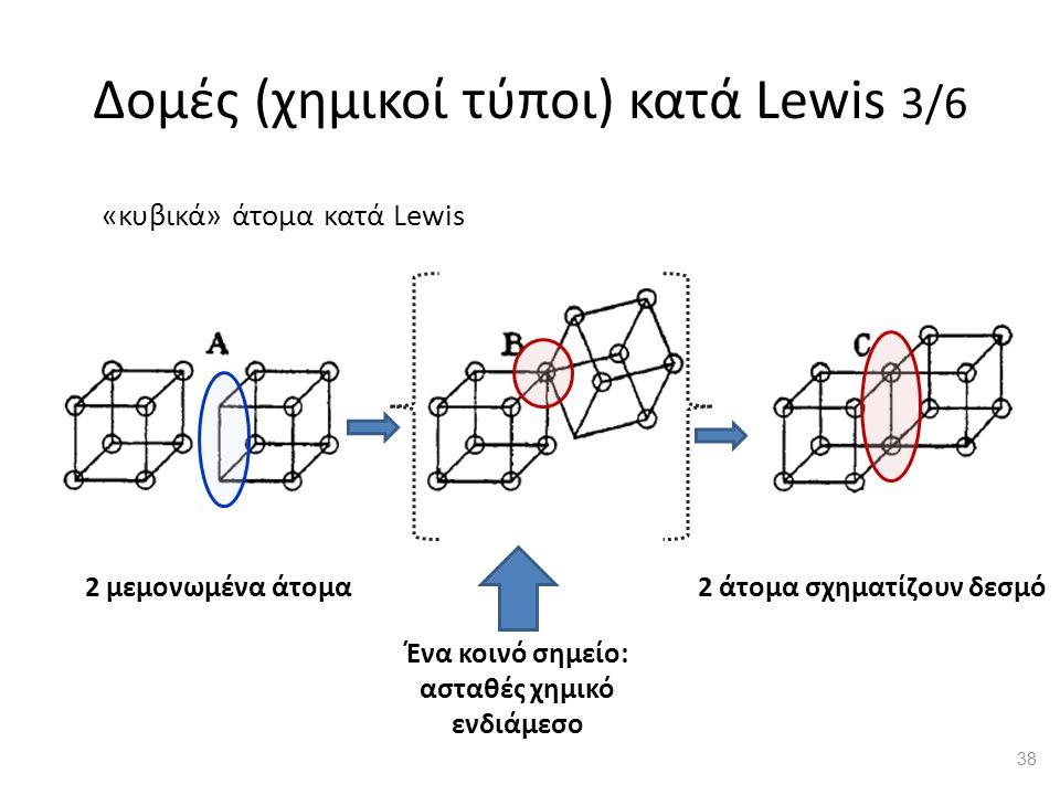 Δομές (χημικοί τύποι) κατά Lewis 3/6 2 μεμονωμένα άτομα2 άτομα σχηματίζουν δεσμό Ένα κοινό σημείο: ασταθές χημικό ενδιάμεσο «κυβικά» άτομα κατά Lewis 38