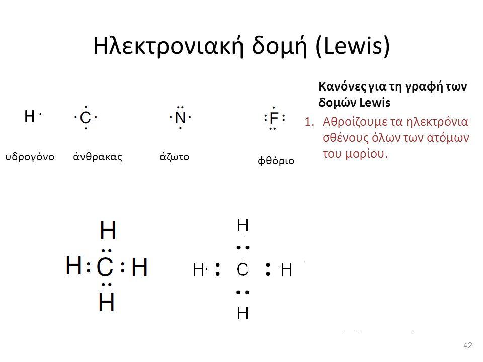 Ηλεκτρονιακή δομή (Lewis) Κανόνες για τη γραφή των δομών Lewis 1.Αθροίζουμε τα ηλεκτρόνια σθένους όλων των ατόμων του μορίου.