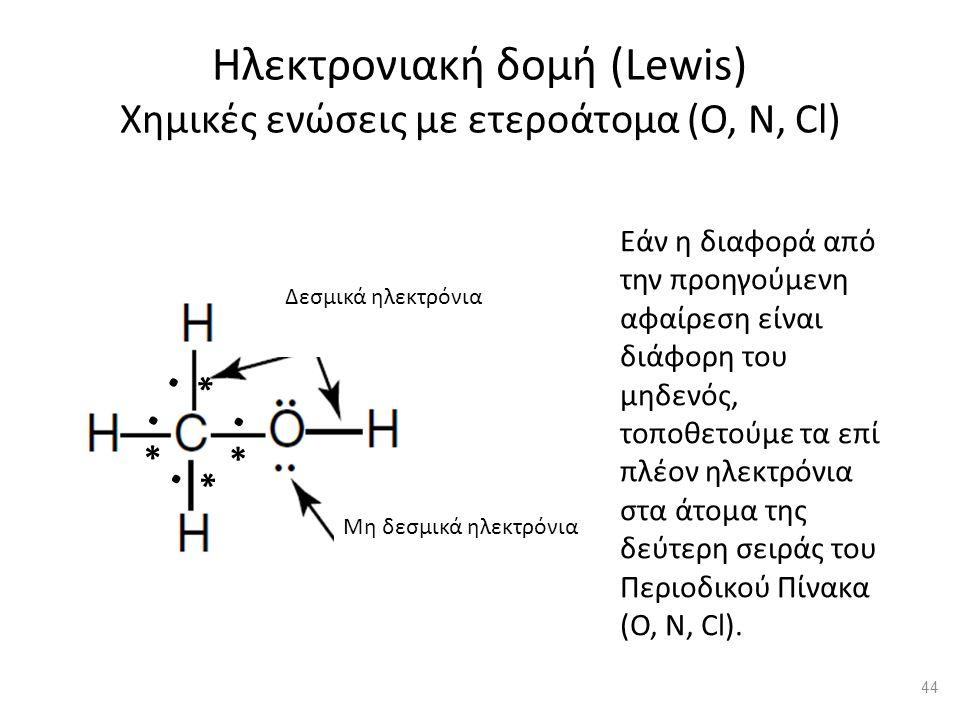 Δεσμικά ηλεκτρόνια Μη δεσμικά ηλεκτρόνια Ηλεκτρονιακή δομή (Lewis) Χημικές ενώσεις με ετεροάτομα (Ο, Ν, Cl) Εάν η διαφορά από την προηγούμενη αφαίρεση είναι διάφορη του μηδενός, τοποθετούμε τα επί πλέον ηλεκτρόνια στα άτομα της δεύτερη σειράς του Περιοδικού Πίνακα (Ο, N, Cl)..