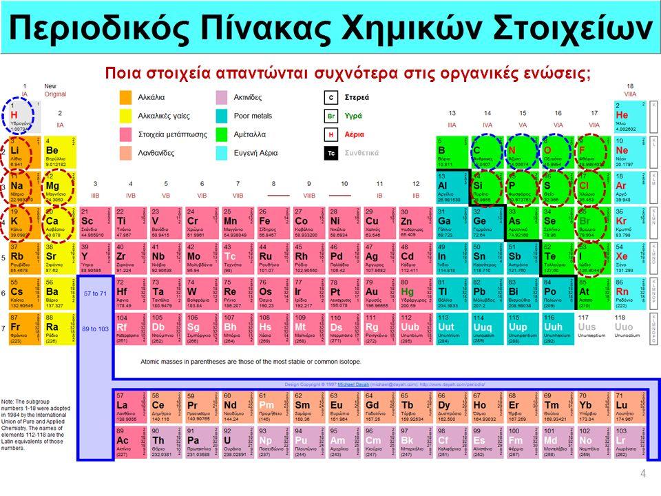 Ποια στοιχεία απαντώνται συχνότερα στις οργανικές ενώσεις; 4
