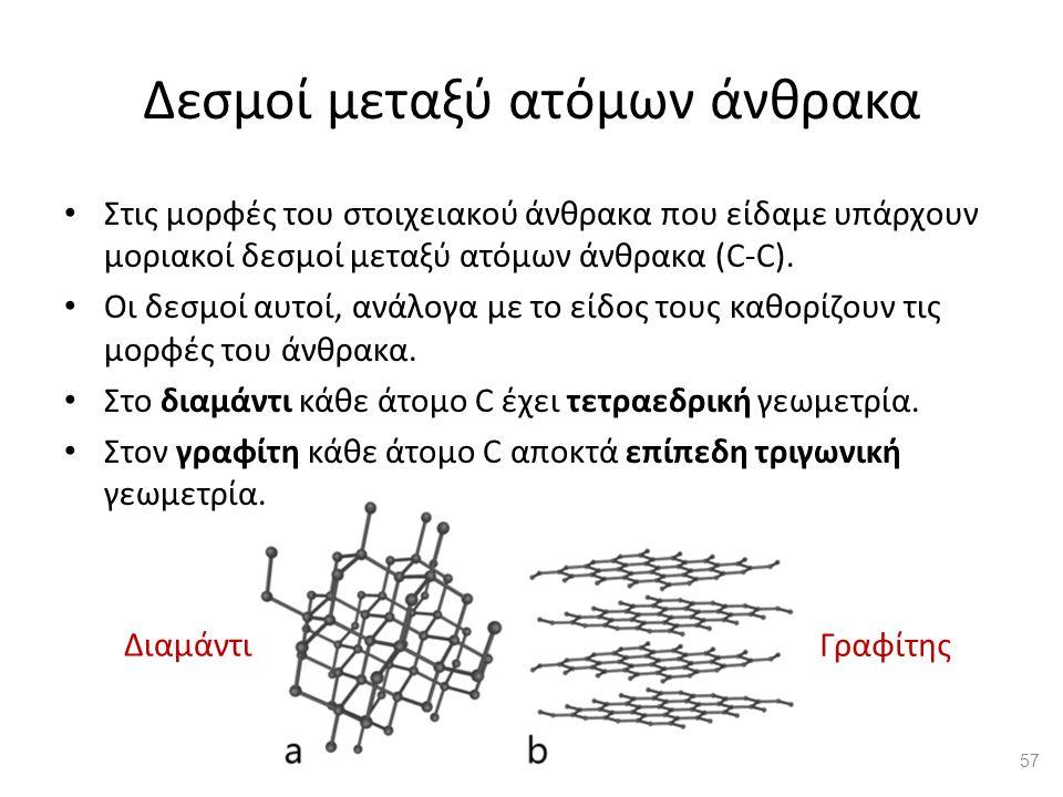 Δεσμοί μεταξύ ατόμων άνθρακα Διαμάντι Γραφίτης Στις μορφές του στοιχειακού άνθρακα που είδαμε υπάρχουν μοριακοί δεσμοί μεταξύ ατόμων άνθρακα (C-C).