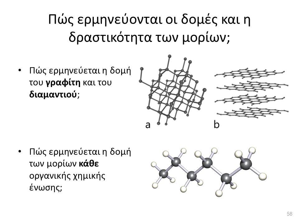 Πώς ερμηνεύονται οι δομές και η δραστικότητα των μορίων; Πώς ερμηνεύεται η δομή του γραφίτη και του διαμαντιού; Πώς ερμηνεύεται η δομή των μορίων κάθε οργανικής χημικής ένωσης; 58