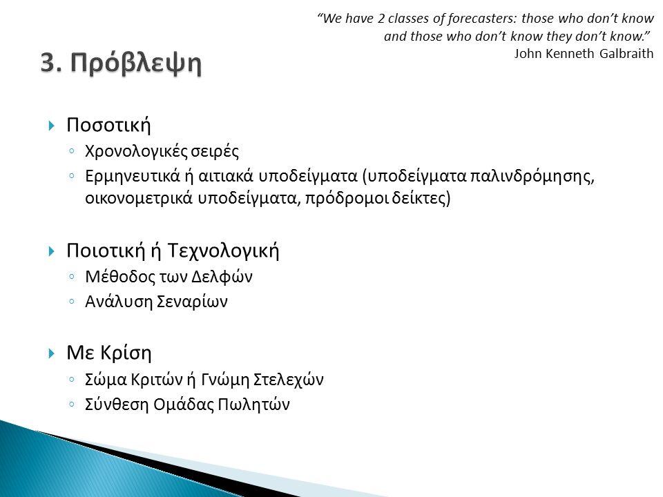  Ποσοτική ◦ Χρονολογικές σειρές ◦ Ερμηνευτικά ή αιτιακά υποδείγματα (υποδείγματα παλινδρόμησης, οικονομετρικά υποδείγματα, πρόδρομοι δείκτες)  Ποιοτική ή Τεχνολογική ◦ Μέθοδος των Δελφών ◦ Ανάλυση Σεναρίων  Με Κρίση ◦ Σώμα Κριτών ή Γνώμη Στελεχών ◦ Σύνθεση Ομάδας Πωλητών We have 2 classes of forecasters: those who don't know and those who don't know they don't know. John Kenneth Galbraith