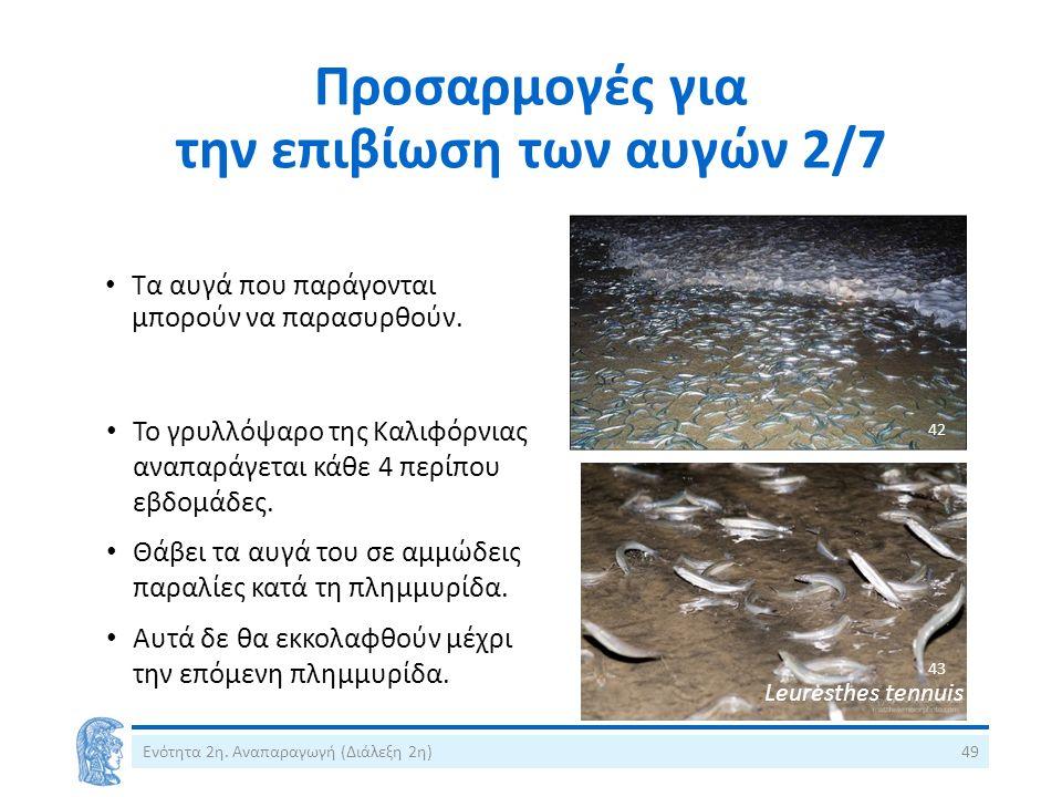 Προσαρμογές για την επιβίωση των αυγών 2/7 Ενότητα 2η. Αναπαραγωγή (Διάλεξη 2η)49 Τα αυγά που παράγονται μπορούν να παρασυρθούν. α Το γρυλλόψαρο της Κ
