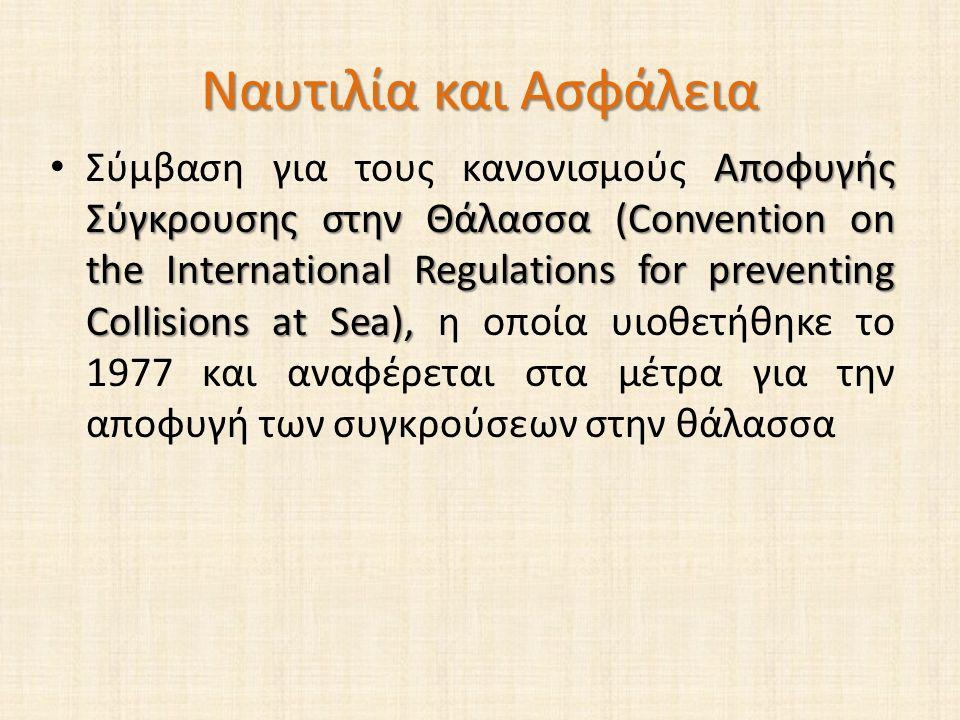 Ναυτιλία και Ασφάλεια Αποφυγής Σύγκρουσης στην Θάλασσα (Convention on the International Regulations for preventing Collisions at Sea), Σύμβαση για τους κανονισμούς Αποφυγής Σύγκρουσης στην Θάλασσα (Convention on the International Regulations for preventing Collisions at Sea), η οποία υιοθετήθηκε το 1977 και αναφέρεται στα μέτρα για την αποφυγή των συγκρούσεων στην θάλασσα