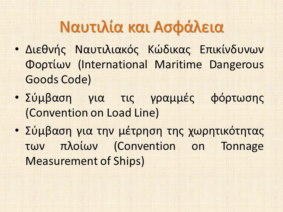 Ναυτιλία και Ασφάλεια Διεθνής Ναυτιλιακός Κώδικας Επικίνδυνων Φορτίων (International Maritime Dangerous Goods Code) Σύμβαση για τις γραμμές φόρτωσης (Convention on Load Line) Σύμβαση για την μέτρηση της χωρητικότητας των πλοίων (Convention on Tonnage Measurement of Ships)