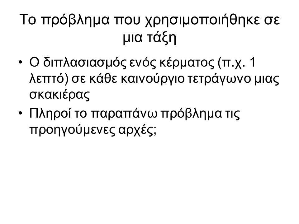 Το πρόβλημα που χρησιμοποιήθηκε σε μια τάξη Ο διπλασιασμός ενός κέρματος (π.χ.