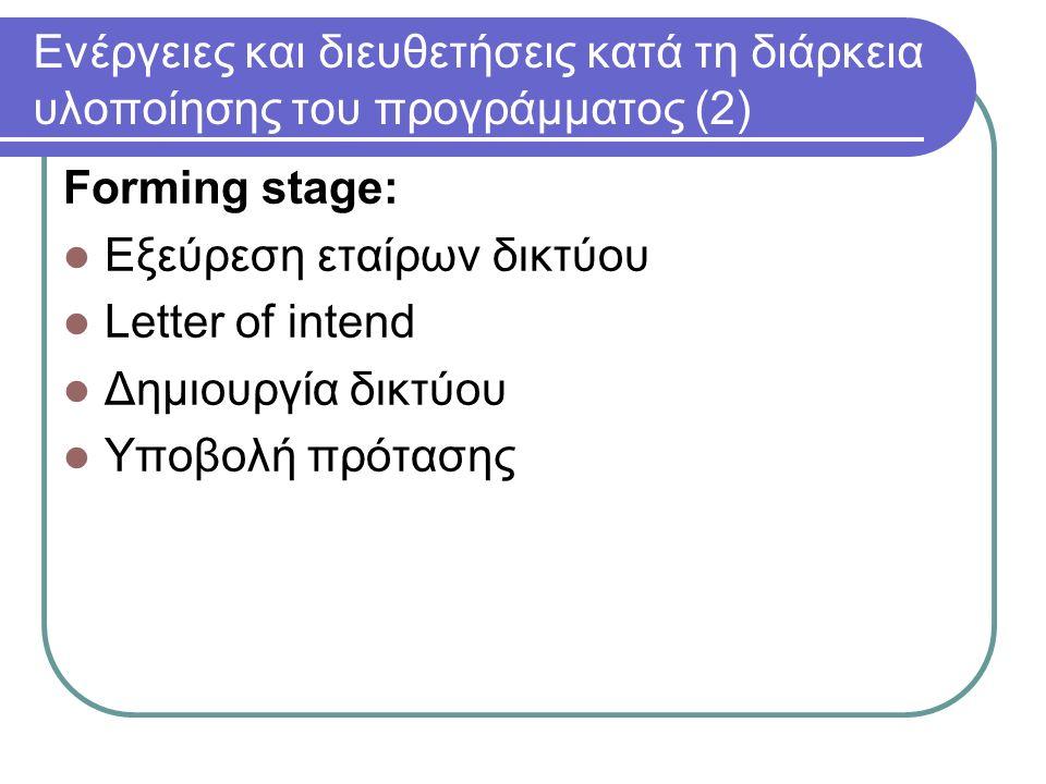 Ενέργειες και διευθετήσεις κατά τη διάρκεια υλοποίησης του προγράμματος (2) Forming stage: Εξεύρεση εταίρων δικτύου Letter of intend Δημιουργία δικτύου Υποβολή πρότασης