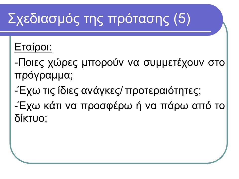 Σχεδιασμός της πρότασης (6) -Οι υποψήφιοι εταίροι διαθέτουν την κατάλληλη υποδομή για να υποστηρίξουν το έργο; -Υπάρχει άτομο επικοινωνίας με το οποίο να γνωριζόμαστε εκ των προτέρων; (έμπιστο, ικανό, δραστήριο).
