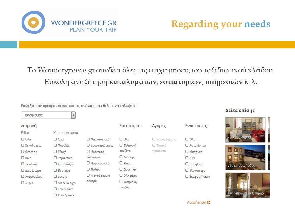 Regarding your needs Το Wondergreece.gr συνδέει όλες τις επιχειρήσεις του ταξιδιωτικού κλάδου.
