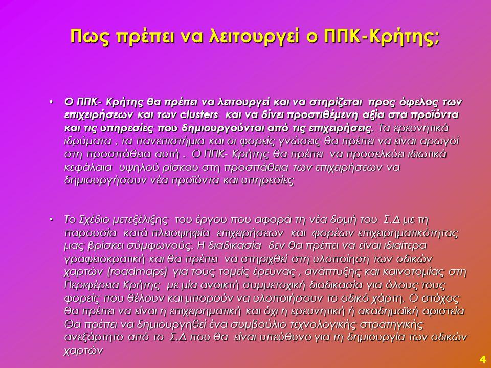 5 Κύρια πεδία παρέμβασης (Ι)  Επικέντρωση σε ένα τομέα της οικονομίας της Κρήτης (υπηρεσίες έντασης γνώσης) με διασφάλιση της χρηματοδότησης των άλλων πυλώνων (Σχέδιο ΟΔ2) της οικονομίας της Κρήτης (τρόφιμα, ενέργεια, περιβάλλον, μεταφορές) από άλλα έργα έρευνας και καινοτομίας (ΕΣΠΑ-ΠΕΠ, ΕΣΠΑ –Καινοτόμες Δράσεις).
