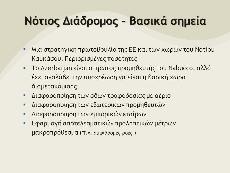 Νότιος Διάδρομος – Βασικά σημεία  Μια στρατηγική πρωτοβουλία της ΕΕ και των χωρών του Νοτίου Καυκάσου.