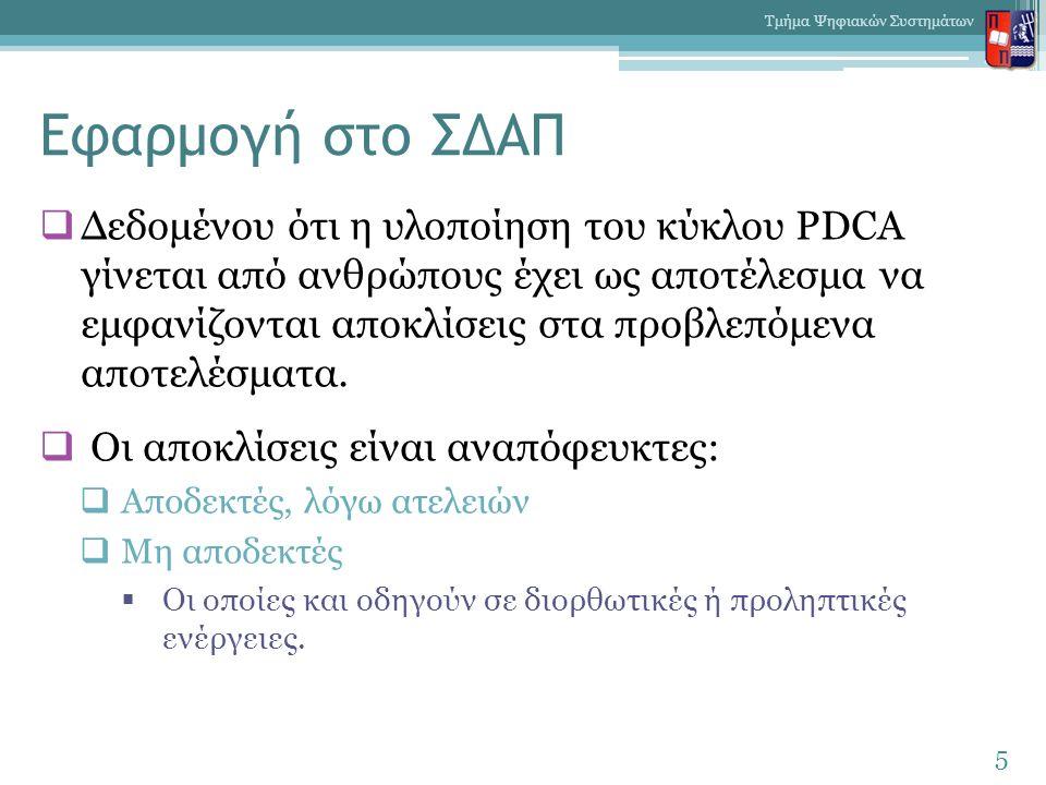 Εφαρμογή στο ΣΔΑΠ  Δεδομένου ότι η υλοποίηση του κύκλου PDCA γίνεται από ανθρώπους έχει ως αποτέλεσμα να εμφανίζονται αποκλίσεις στα προβλεπόμενα αποτελέσματα.