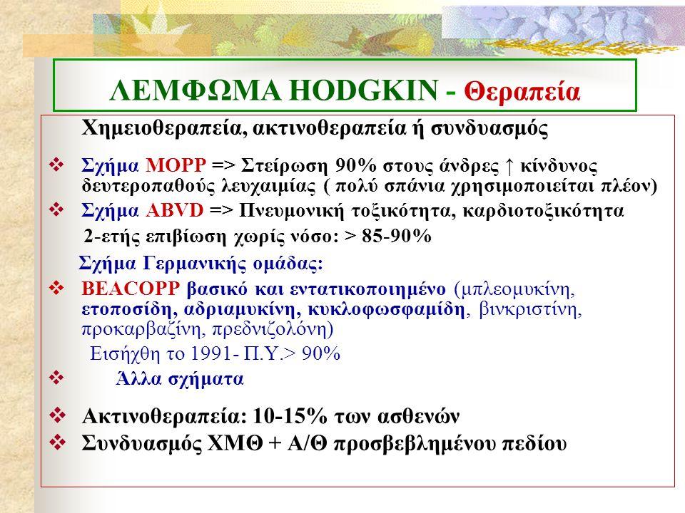ΛΕΜΦΩΜΑ ΗΟDGKIN - Θεραπεία Χημειοθεραπεία, ακτινοθεραπεία ή συνδυασμός  Σχήμα MOPP => Στείρωση 90% στους άνδρες ↑ κίνδυνος δευτεροπαθούς λευχαιμίας ( πολύ σπάνια χρησιμοποιείται πλέον)  Σχήμα ABVD => Πνευμονική τοξικότητα, καρδιοτοξικότητα 2-ετής επιβίωση χωρίς νόσο: > 85-90% Σχήμα Γερμανικής ομάδας:  BEACOPP βασικό και εντατικοποιημένο (μπλεομυκίνη, ετοποσίδη, αδριαμυκίνη, κυκλοφωσφαμίδη, βινκριστίνη, προκαρβαζίνη, πρεδνιζολόνη) Εισήχθη το 1991- Π.Υ.> 90%  Άλλα σχήματα  Ακτινοθεραπεία: 10-15% των ασθενών  Συνδυασμός ΧΜΘ + Α/Θ προσβεβλημένου πεδίου
