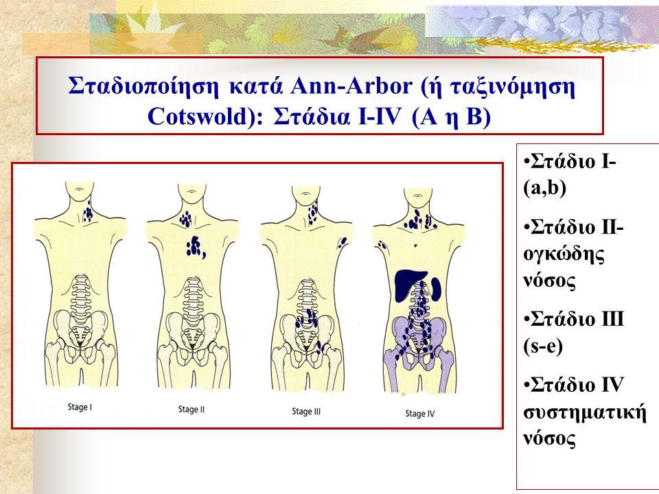 Σταδιοποίηση κατά Αnn-Arbor (ή ταξινόμηση Cotswold): Στάδια Ι-ΙV (A η Β) Στάδιο Ι- (a,b) Στάδιο ΙΙ- ογκώδης νόσος Στάδιο ΙΙΙ (s-e) Στάδιο IV συστηματι