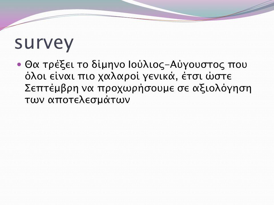 survey Θα τρέξει το δίμηνο Ιούλιος-Αύγουστος που όλοι είναι πιο χαλαροί γενικά, έτσι ώστε Σεπτέμβρη να προχωρήσουμε σε αξιολόγηση των αποτελεσμάτων