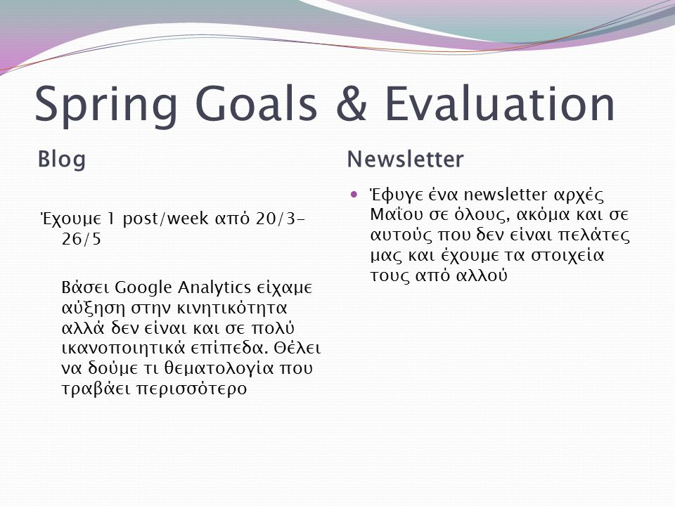 Spring Goals & Evaluation Blog Newsletter Έχουμε 1 post/week από 20/3- 26/5 Βάσει Google Analytics είχαμε αύξηση στην κινητικότητα αλλά δεν είναι και