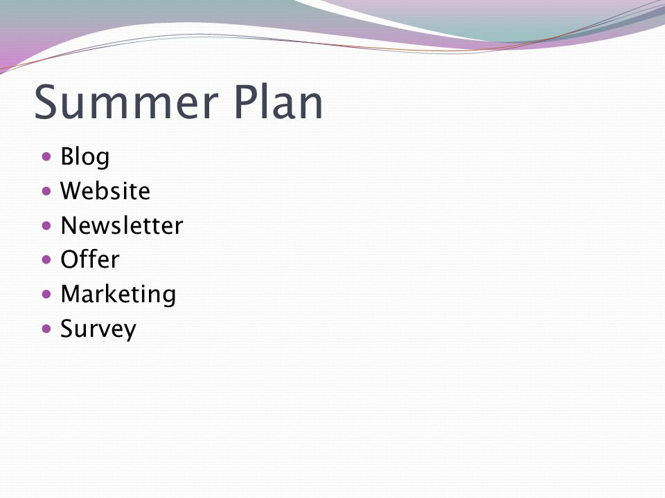 Summer Plan Blog Website Newsletter Offer Marketing Survey