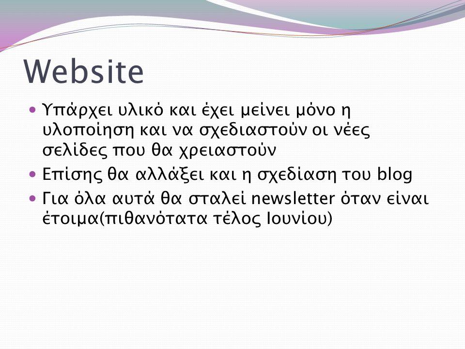Website Υπάρχει υλικό και έχει μείνει μόνο η υλοποίηση και να σχεδιαστούν οι νέες σελίδες που θα χρειαστούν Επίσης θα αλλάξει και η σχεδίαση του blog