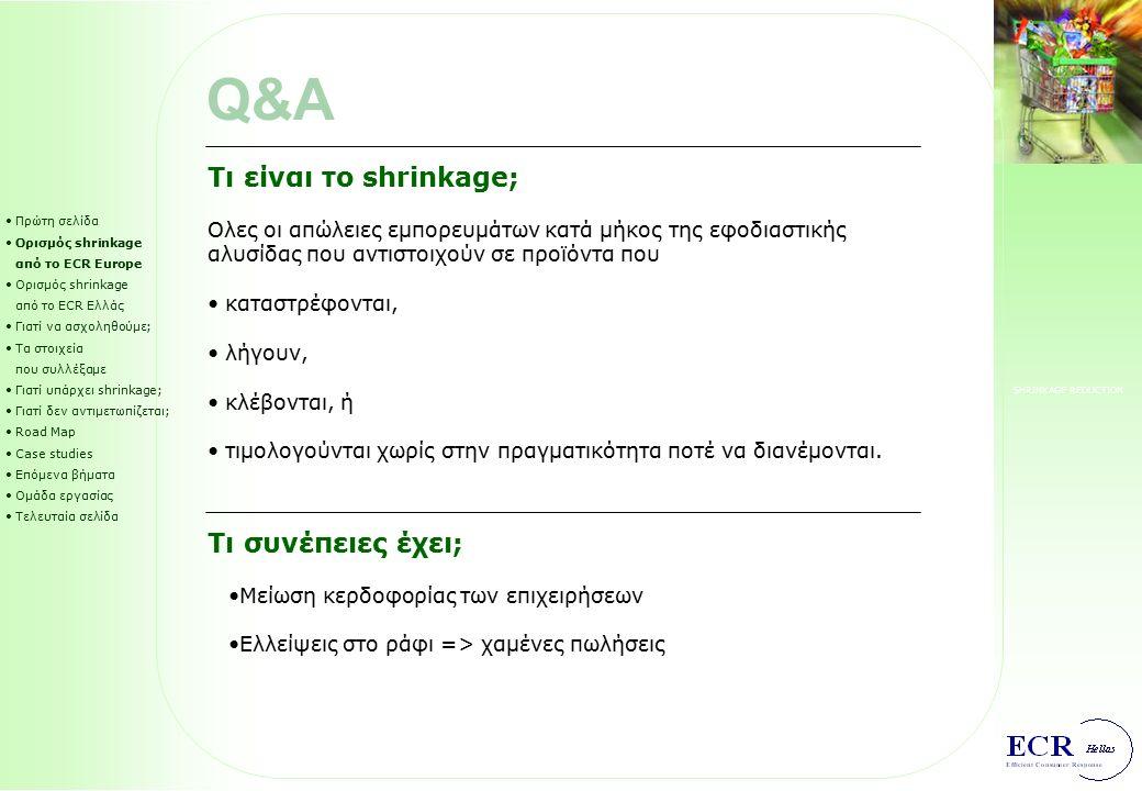 SHRINKAGE REDUCTION CS2: Henkel / Metro Πρώτη σελίδα Ορισμός shrinkage από το ECR Europe Ορισμός shrinkage από το ECR Ελλάς Γιατί να ασχοληθούμε; Τα στοιχεία που συλλέξαμε Γιατί υπάρχει shrinkage; Γιατί δεν αντιμετωπίζεται; Road Map Case studies Επόμενα βήματα Ομάδα εργασίας Τελευταία σελίδα