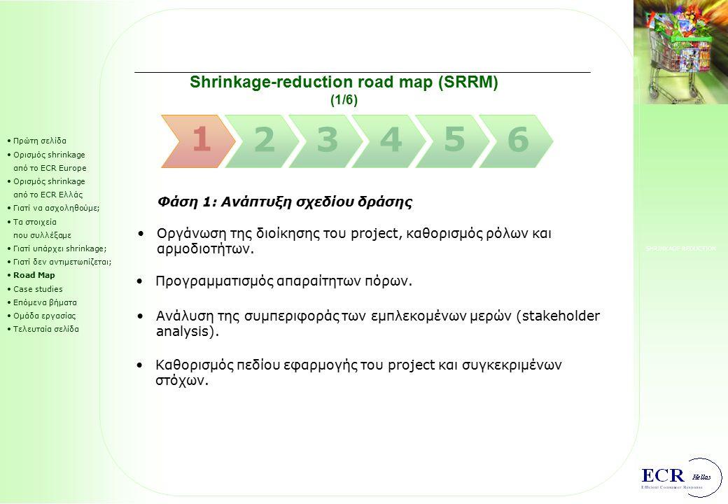 SHRINKAGE REDUCTION Τι μπορούμε να κάνουμε για να αντιμετωπίσουμε σωστά το θέμα; Πρώτη σελίδα Ορισμός shrinkage από το ECR Europe Ορισμός shrinkage από το ECR Ελλάς Γιατί να ασχοληθούμε; Τα στοιχεία που συλλέξαμε Γιατί υπάρχει shrinkage; Γιατί δεν αντιμετωπίζεται; Road Map Case studies Επόμενα βήματα Ομάδα εργασίας Τελευταία σελίδα Για τη σωστή αντιμετώπιση του ζητήματος πρέπει κάθε επιχείρηση να προσέξει τα εξής: 5) Να διακρίνει τις μεγαλύτερες απώλειες σε hot products hot stores hot spots 6) Να επιδιώκει μόνιμα τη συνεργασία με τις συνεργαζόμενες εταιρείες κατά μήκος της εφοδιαστικής αλυσίδας.