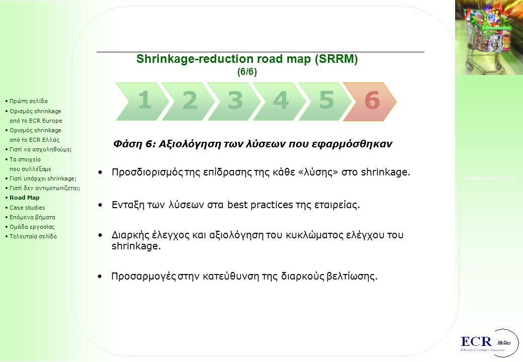 SHRINKAGE REDUCTION Διαμόρφωση action plan για την εφαρμογή των λύσεων. Shrinkage-reduction road map (SRRM) (5/6) Πρώτη σελίδα Ορισμός shrinkage από τ
