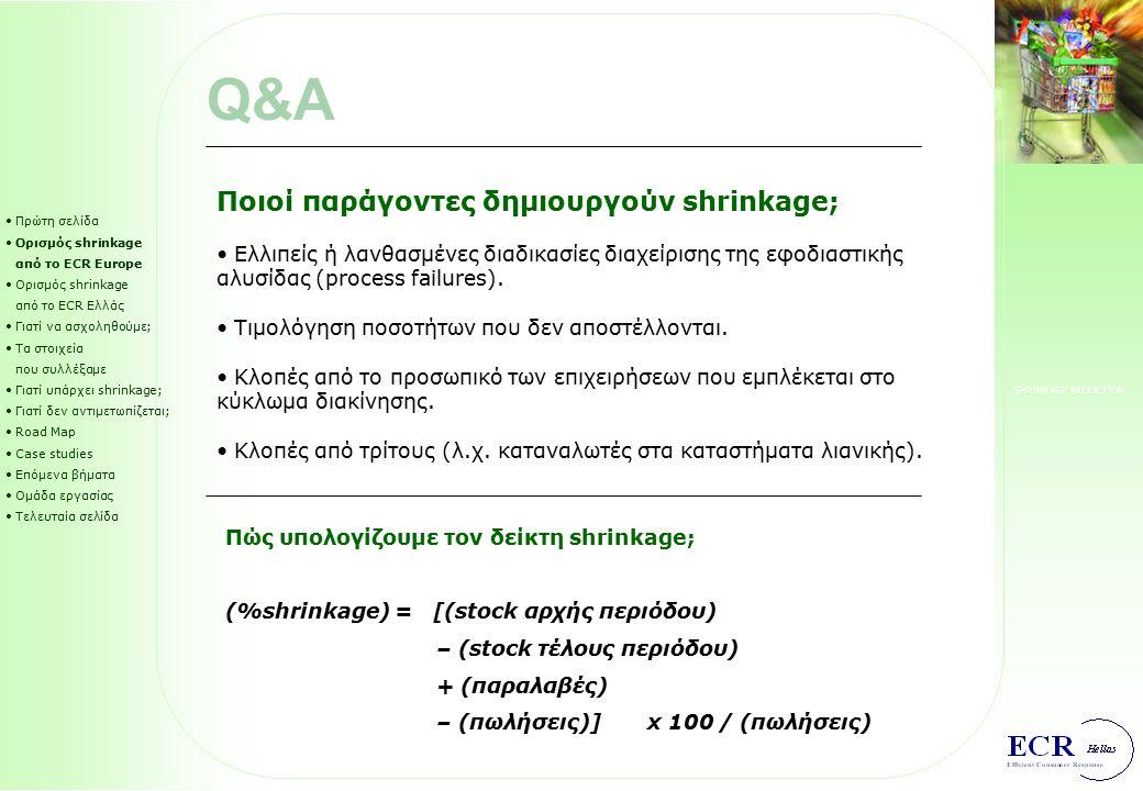 SHRINKAGE REDUCTION Πρώτη σελίδα Ορισμός shrinkage από το ECR Europe Ορισμός shrinkage από το ECR Ελλάς Γιατί να ασχοληθούμε; Τα στοιχεία που συλλέξαμε Γιατί υπάρχει shrinkage; Γιατί δεν αντιμετωπίζεται; Road Map Case studies Επόμενα βήματα Ομάδα εργασίας Τελευταία σελίδα CS1: RACKS