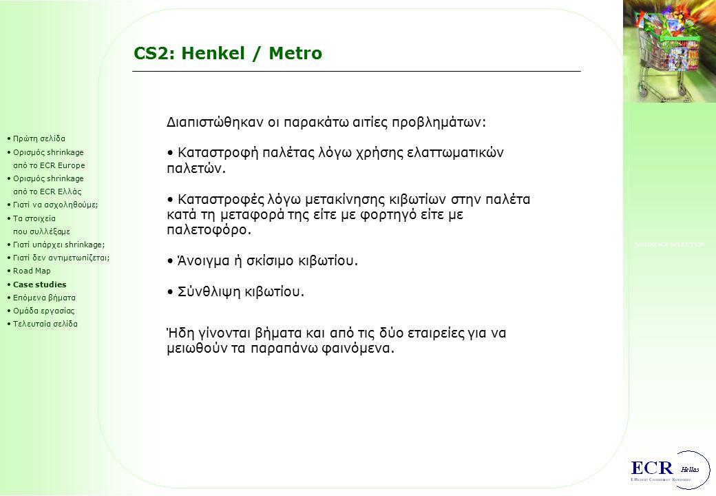 SHRINKAGE REDUCTION CS2: Henkel / Metro Πρώτη σελίδα Ορισμός shrinkage από το ECR Europe Ορισμός shrinkage από το ECR Ελλάς Γιατί να ασχοληθούμε; Τα σ