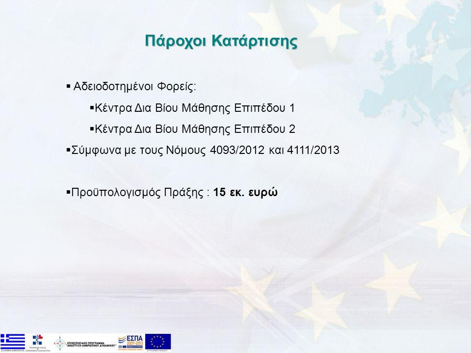 Πάροχοι Κατάρτισης  Αδειοδοτημένοι Φορείς:  Κέντρα Δια Βίου Μάθησης Επιπέδου 1  Κέντρα Δια Βίου Μάθησης Επιπέδου 2  Σύμφωνα με τους Νόμους 4093/2012 και 4111/2013  Προϋπολογισμός Πράξης : 15 εκ.