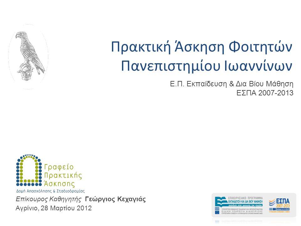 Πρακτική Άσκηση Φοιτητών Πανεπιστημίου Ιωαννίνων Αγρίνιο, 28 Μαρτίου 2012 Επίκουρος Καθηγητής Γεώργιος Κεχαγιάς E.Π.
