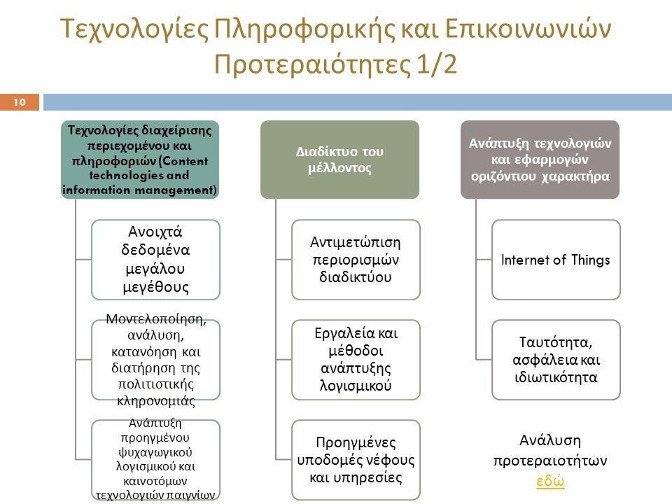 Τεχνολογίες Πληροφορικής και Επικοινωνιών Προτεραιότητες 1/2 10 Τεχνολογίες διαχείρισης π εριεχομένου και π ληροφοριών (Content technologies and infor