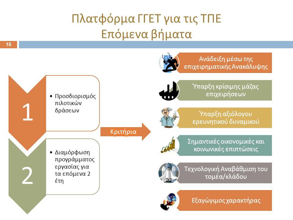 15 Πλατφόρμα ΓΓΕΤ για τις ΤΠΕ Επόμενα βήματα 1 Προσδιορισμός π ιλοτικών δράσεων 2 Διαμόρφωση π ρογράμματος εργασίας για τα ε π όμενα 2 έτη Ανάδειξη μέ